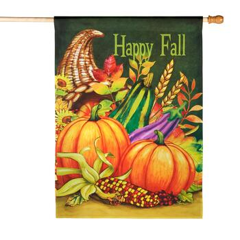 "28""x40"" ""Happy Fall"" Cornucopia Yard Flag"