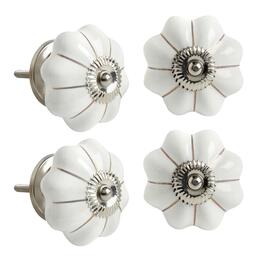 White/Gold Ceramic Furniture Knobs, Set of 4