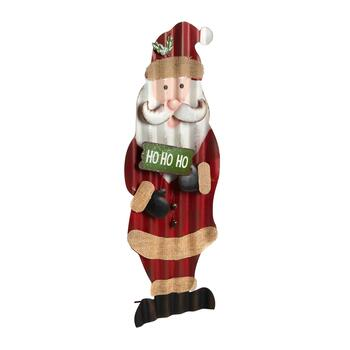 "24"" Glitter Metal Standing Santa with Bells"