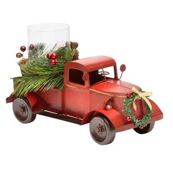 Vintage Truck Candle Holder with Christmas Greenery