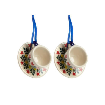 Polish Pottery Hand-Painted Red Star Cup & Saucer Ornaments, Set of 2 view 1