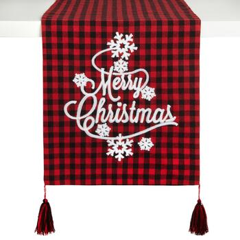 """Merry Christmas"" Plaid Snowflake Tassel Table Runner"