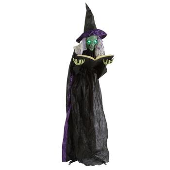 6' Animated Witch with Spell Book