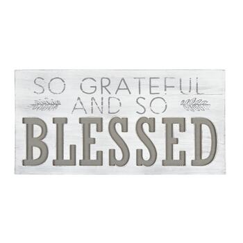"12""x24"" ""So Grateful and So Blessed"" Wood Wall Decor"