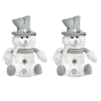 Plush Snowman Canisters, Set of 2