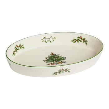 Famous Maker Oval Christmas Tree Serving Dish
