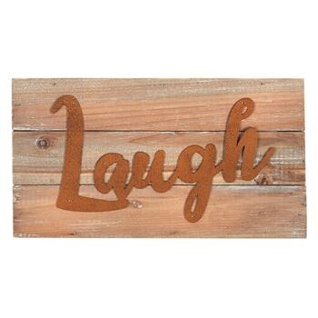 "7""x13"" ""Laugh"" Wood Typography Sign"