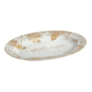 "10""x14"" ""Give Thanks"" Harvest Gold Foliage Oval Serving Platter"