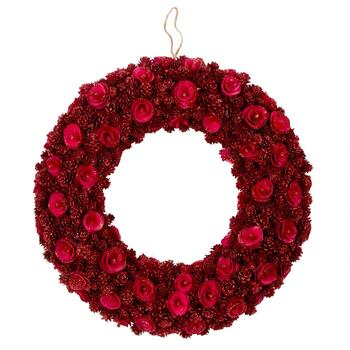 "19"" Pink Roses Hanging Woodchip Wreath"