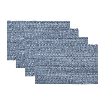"14.25""x20.25"" Coastal Weave Textured Cotton Placemats, Set of 4"