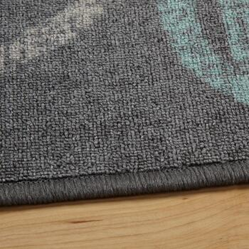 Dark Gray/Teal Floral Area Rug view 2
