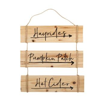 "15""x16"" ""Hayrides, Pumpkin Patch, Hot Cider"" Wood/Rope Plaque Wall Decor"