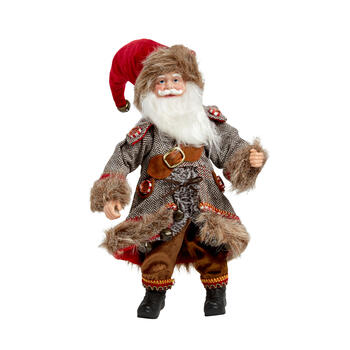 "14"" Fur Coat Santa Poseable Ornament view 1"