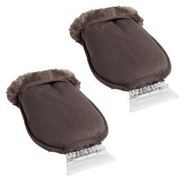 Blizzard King™ Faux Fur Fleece Mitts with Ice Scrapers, Set of 2