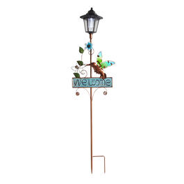 "36"" ""Welcome"" Blue Hummingbird Solar Lantern Stake view 1"