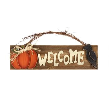 "8.5""x19.5"" ""Welcome"" Pumpkin and Crow Wall Decor"