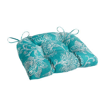 Turquoise Floral Jacquard Single-U Seat Pad view 1