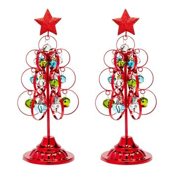 Red Standing Metal Trees with Ornaments, Set of 2