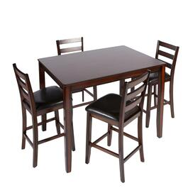 Espresso Upholstered Dining Table and Chairs Set, 5-Piece