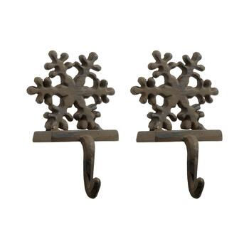 Cast Iron Snowflake Holiday Stocking Holders, Set of 2