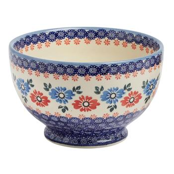 Polish Pottery Blue/Red Floral Large Footed Bowl
