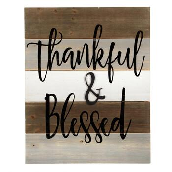 "The Grainhouse™ 16""x20"" ""Thankful & Blessed"" Cutout Wood Wall Sign"