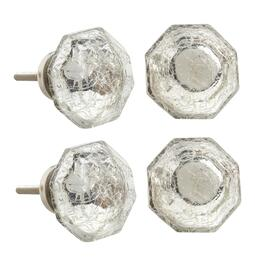 Silver Crackle Octagon Decorative Furniture Knobs, Set of 4