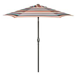 7.5' Red/Blue/Tan Striped Crank/Tilt Market Patio Umbrella
