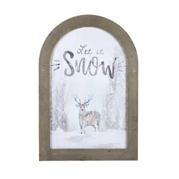 "22""x32"" ""Let It Snow"" Deer Framed Arch Wall Decor view 1"