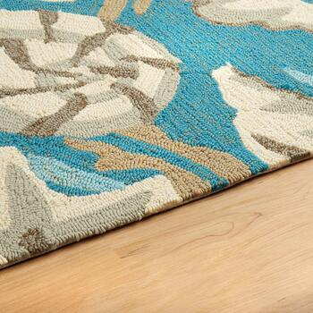 "27"" Teal Shells Hooked Round All-Weather Rug view 2"