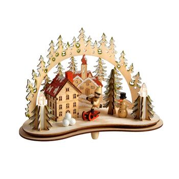 "10"" Sleigh Rider LED Cutout Wood Village"