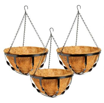 "12"" Black Twist Hanging Coco Planters, Set of 3"