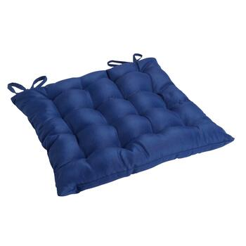 Solid Cobalt Indoor/Outdoor Tufted Square Seat Pad