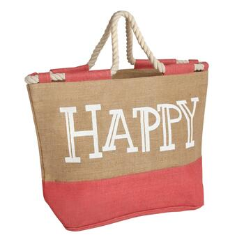 "Coral ""Happy"" Jute Tote Bag with Rope Handles"