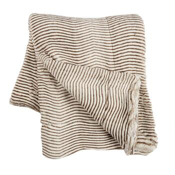 Horizontal Brown Stripe Faux Fur Throw Blanket