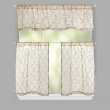 Geo Embroidered Rod Pocket Window Tier & Valance Set