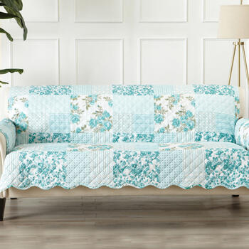 Reversible Blue Floral Print Quilted Sofa Furniture Protector
