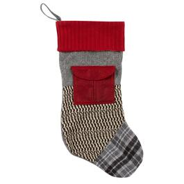 Red/Gray Mixed Pattern Knit Stocking with Pocket