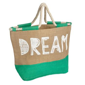 "Green ""Dream"" Jute Tote Bag with Rope Handles"
