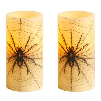 LED Spider Pillar Candles, Set of 2
