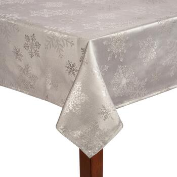 Silver Lurex Metallic Snowflake Damask Tablecloth