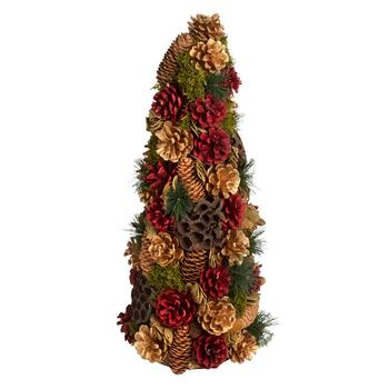 "22"" Red/Gold Pinecones Artificial Tree"