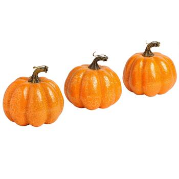"3.75"" Glittered Crackle Pumpkins, Set of 3"