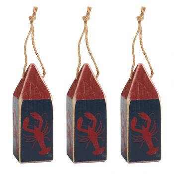 Lobster Wood Buoy Ornaments, Set of 3