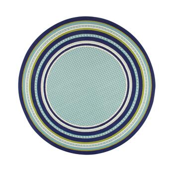 Dark Blue/Green Border All-Weather Area Rug view 2 view 3 view 4
