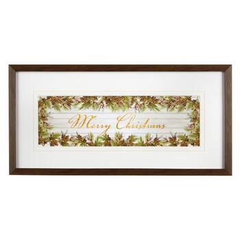 "13""x25"" ""Merry Christmas"" Wreath Framed Wall Decor"