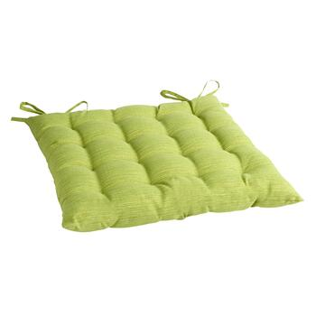Solid Green Indoor/Outdoor Tufted Square Seat Pad