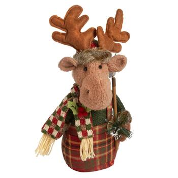 "18"" Plush Heavy Bottom Reindeer with Shovel"