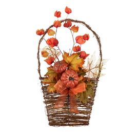 "20"" Red Pumpkin and Leaves Twig Basket Wall Decor"