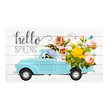 "18""x32"" ""Hello Spring"" Flower Truck Slatted Wall Decor view 1"